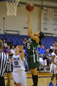 Junior Symone Ball goes up for the shot against UNG.
