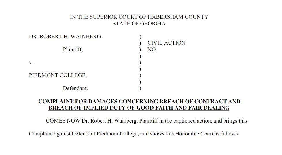 Wainberg v. Piedmont College: Former Biology Professor sues Piedmont