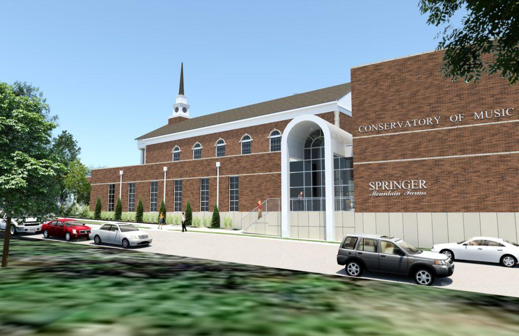 A mockup of the new Conservatory of Music shows the building standing tall beside the park. PHOTO / PIEDMONT COLLEGE