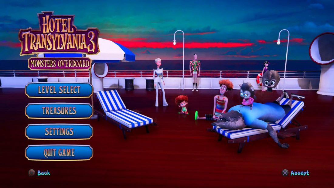 The Main Menu of Hotel Transylvania 3 is a stark illustration of the graphical elements within the game to come.