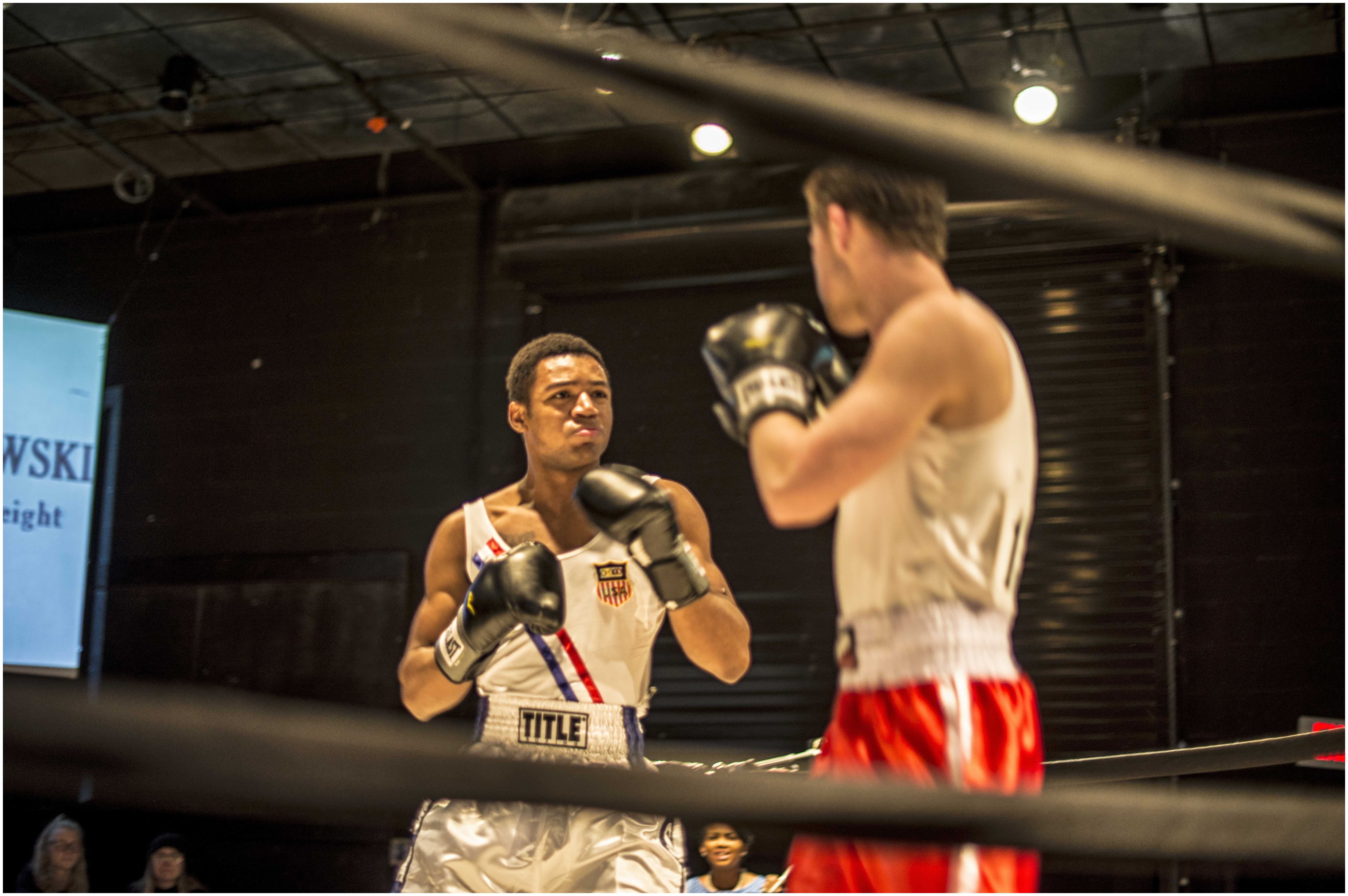 Freshman Jordan Hicks (left) and senior Dashawn Crawford reenact the 1960 Olympic boxing match between Cassius Clay and Zigzy Piertzykowski. PHOTO / PIEDMONT COLLEGE