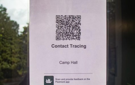 In all academic buildings, there are QR codes that students and faculty are expected to scan. // Photo by Zoe Hunter