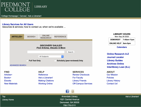 Piedmont students are granted access to over 300 different online resource outlets