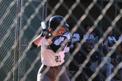 Junior Outfielder Katelyn Perry up to bat.    Photo Credit: Bryce Griggs