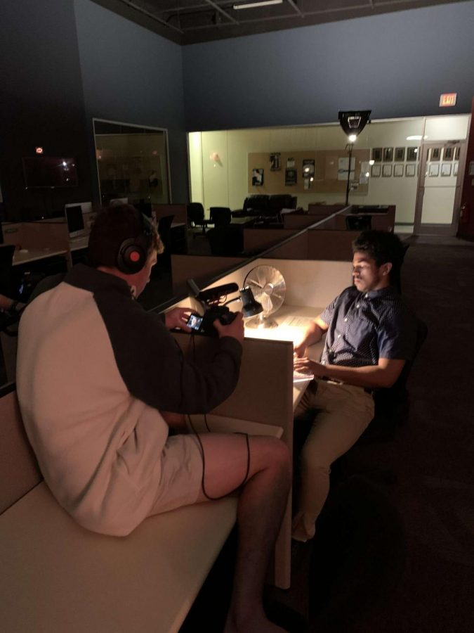 """Junior mass communications major Caleb Rogers filming scenes for the short film """"Overtime."""" // PHOTO COURTESY CALEB ROGERS"""