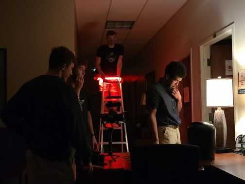 Caleb Rogers and Tyler Goins filming their reward winning short film. // PHOTO COURTESY CALEB ROGERS