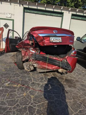Post-accident picture of the car the writer was in. PHOTO // AMY REMELY