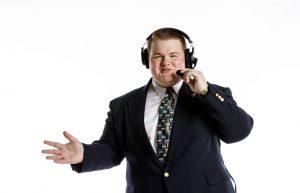 Broadcaster Brett Loftis ready to commentate for the Lions. // PHOTO Courtesy Brett Loftis