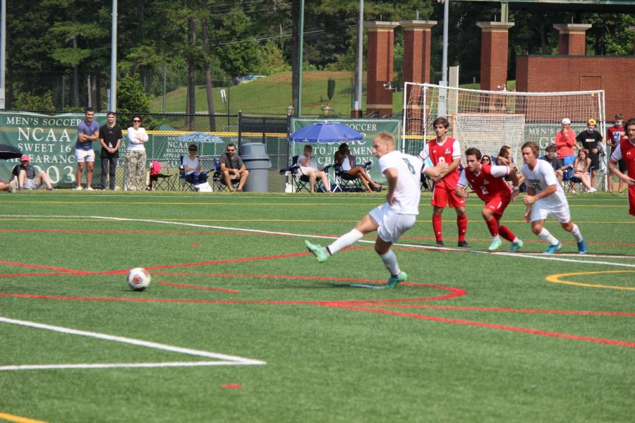 Forward Cameron Earls posted a hat trick against Ferrum College. PHOTO // KARL MOORE