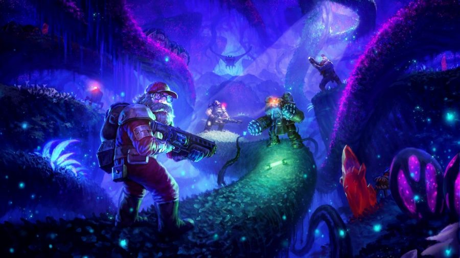The Dwarf Miners exploring bioluminescent caverns for gold. // PHOTO Courtesy of PCGAMESN
