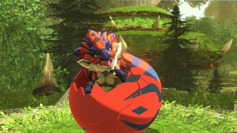 A baby Rathalos hatches from its egg, before becoming an adventuring buddy. PHOTO// Courtesy  of Pocket Tactics