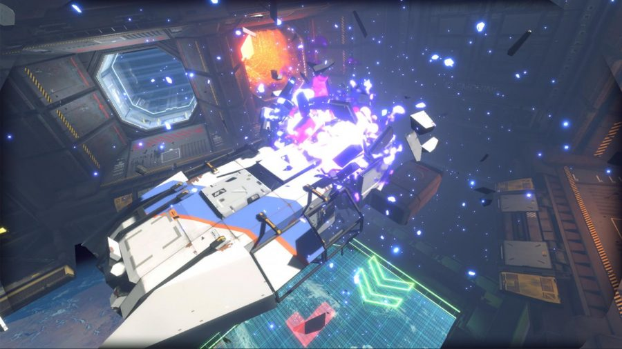 The player character watches the explosion of their target ship after cutting a fuel line.// PHOTO Courtesy of PCGamer.net